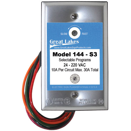 144-S3 Selectable Program Solid State Flasher